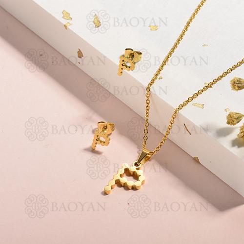 conjunto de collar y aretes en acero inoxidable -SSCSG143-15339