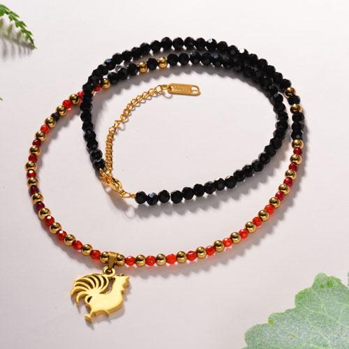Collar de Piedra Natural hecho con Mano -SSNEG142-11871