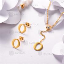 Conjunto de Acero Inoxidable Oro Dorado -SSNEG126-10470