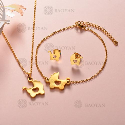 Joyas de Acero Inoxidable de Color Oro Dorado -SSNEG143-12212