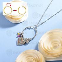 collar de multi color charm DIY en acero inoxidable -SSNEG142-14937