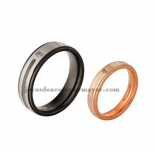 anillos con cristal en acero inoxidable para pareja de color negro y dorado-SSRGG971024