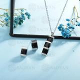 conjunto de collar y aretes en acero inoxidable -SSCSG126-15012