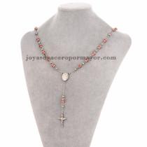 collar de bola plateado y rayas rojo con dije santa cruz en acero inoxidable -SSNEG951901