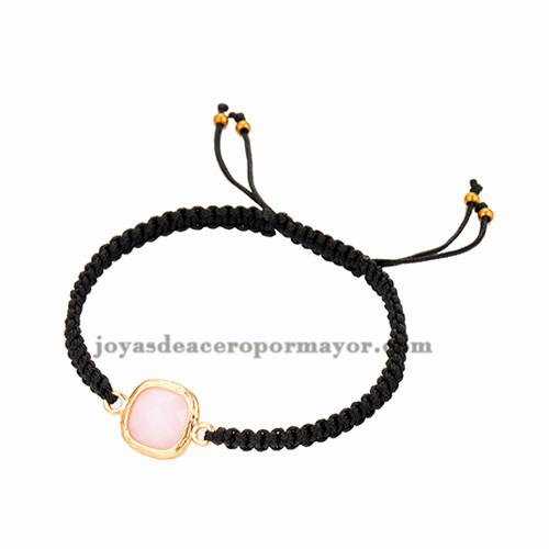 pulseras tejidas moda en color negro con piedra rosa para mujer ACBTG00018