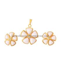 flores de piedra blanca en color oro acero inoxidable