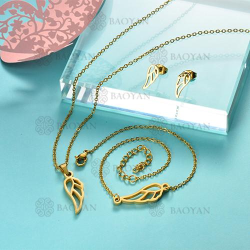 Joyas de Acero Inoxidable de Color Oro Dorado -SSNEG143-12229
