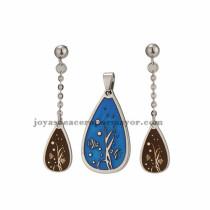 juego de joyas de azul plateado en acero inoxidable para mujer -SSSTG672818