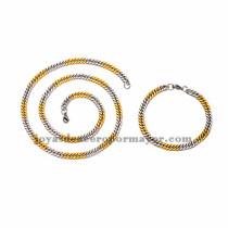 juego collar y brazalete de estilo simple dorado mezcla plateado  en acero inoxidable para hombre -SSNEG462664