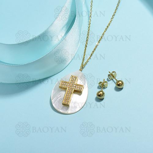 conjunto de collar de bronce y concha -SSCSG107-15856