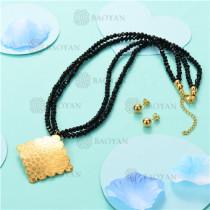 Conjunto de Collar y Aretes en Acero Inoxidable -SSNEG18-6165