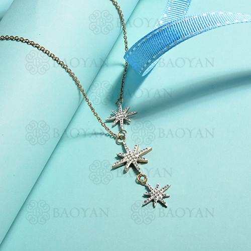 collares de acero inoxidable para mujer -SSBEG143-14841-R
