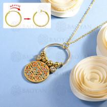 collar de multi color charm DIY en acero inoxidable -SSNEG142-14934
