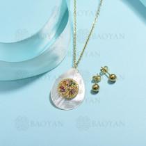 conjunto de collar de bronce y concha -SSCSG107-15855