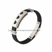 negro brazalete con corazon de silicona en acero inoxidable para hombre-SSBTG942867
