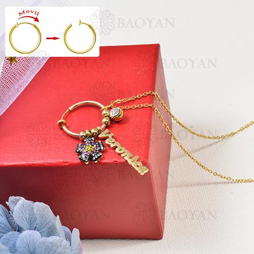 collar de charms DIY en acero inoxidable -SSNEG142-16264