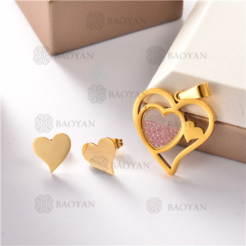 conjunto de corazon  en acero inoxidable-SSSTG07-8237