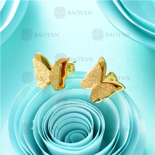 aretes de mariposa en acero inoxidable-SSEGG80-7898