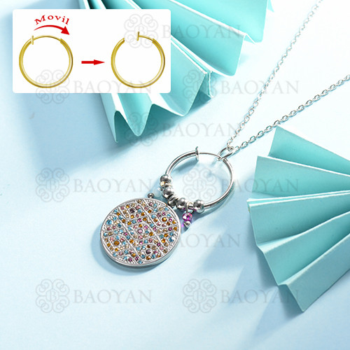 collar de multi color charm DIY en acero inoxidable -SSNEG142-14948