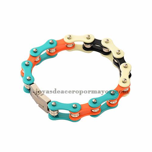cadena de la bicicleta en colores del arco iris de acero inoxidable por mayor-SSBTG382329