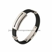 negro brazalete de silicona en acero inoxidable para hombre-SSBTG942865