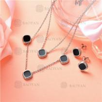Conjunto de Collar y Aretes en Acero Inoxidable -SSNEG126-10122