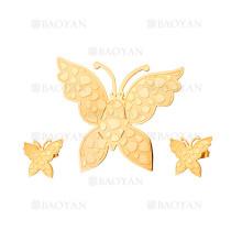 juego colgante y aretes de mariposa tridimensional dorado en acero inoxidable -SSSTG184142
