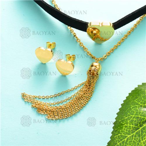 Counjunto de Collar y Aretes en Acero Inoxidable -SSNEG126-6972