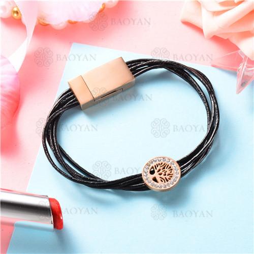 pulsera cuero con dije de arbol acero inoxidable -SSBTG129-9001