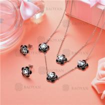 Conjunto de Collar y Aretes en Acero Inoxidable -SSNEG126-10150