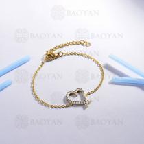 Pulsera de Acero Inoxidable Cristal para Mujer -SSBTG143-14804-G