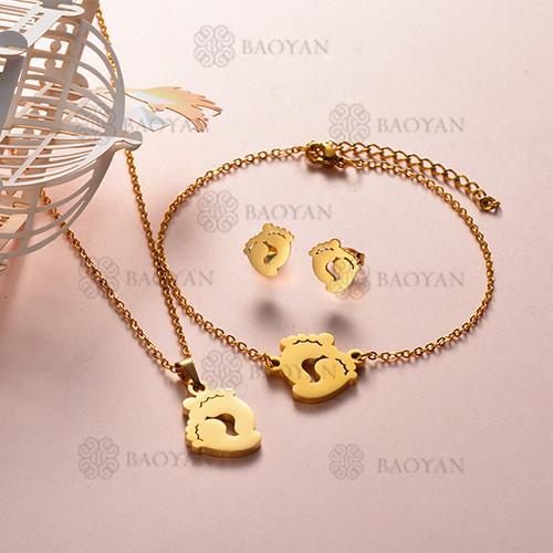 Joyas de Acero Inoxidable de Color Oro Dorado -SSNEG143-12217