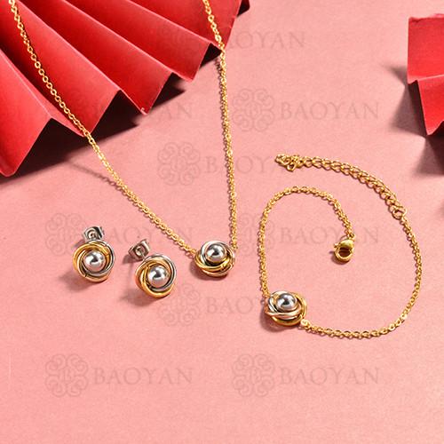 conjunto de collar y aretes en acero inoxidable -SSBNG126-15057