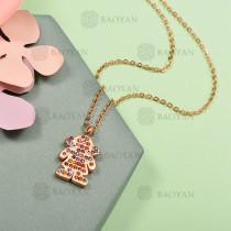 Collar de Acero Inoxidable con Cristal Multicolor -SSNEG143-12591