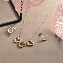 conjunto de collar y aretes en acero inoxidable -SSCSG126-15030