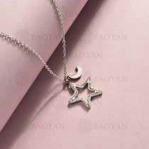 collar de acero inoxidable para mujer -SSNEG143-14823-S