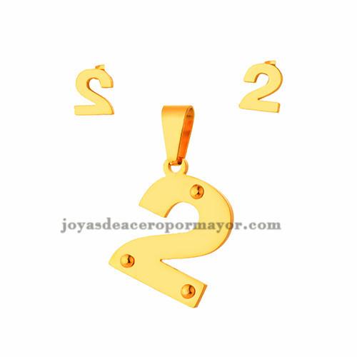 juego de dije y aretes de numero  2  en acero inoxidable de dorado para mujer-  SSSTG073306