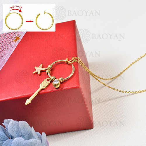 collar de charms DIY en acero inoxidable -SSNEG142-16257