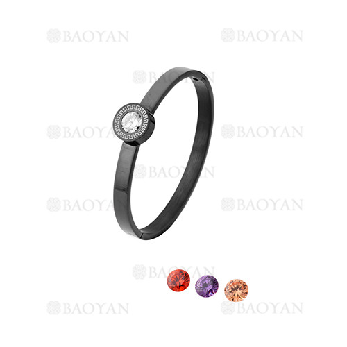 pulsera de moda con cristal de negro en acero inoxidable-SSBTG1225021
