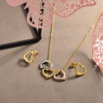 conjunto de collar y aretes en acero inoxidable -SSCSG126-15031
