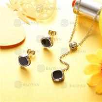 conjunto de joyas acero plateado inoxidable -SSNEG126-9610