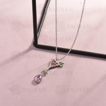 collar de acero inoxidable para mujer -SSNEG143-14812-S