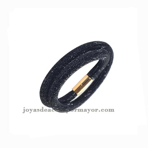 cierre oro dorado malla pulsera cristal en moda