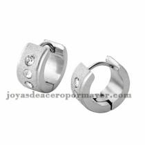 argollas 13mm de brillante cristal en acero plateado inoxidable para mujer -SSEGG274090
