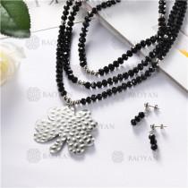juego collar y aretes de piedra con bola acero inoxidable-SSNEG18-10251