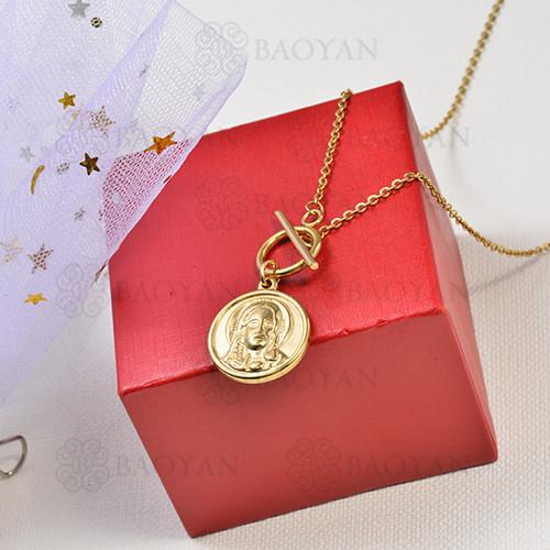 collar de charms moneda en acero inoxidable -SSNEG142-16232