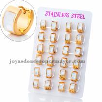 argollas 13mm de piedra blanca en acero dorado inoxidable -SSEGG383909