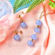 Conjunto de Collar y Aretes de Acero Inoxidable -SSNEG18-9138