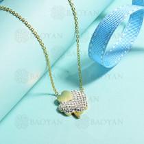 collares de acero inoxidable para mujer -SSNEG143-15384-G