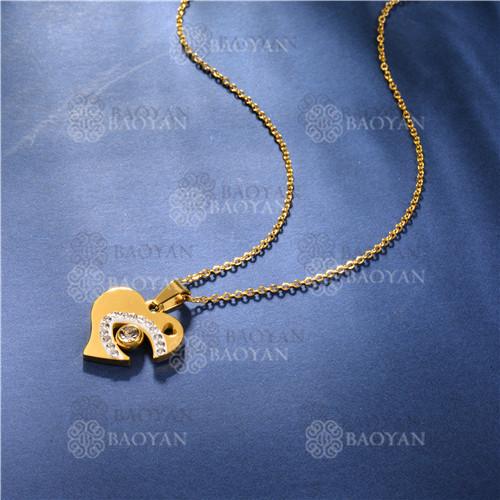 Collar de Cristal en Acero Inoxidable -SSNEG143-11446